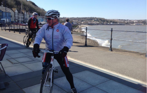 This is me arriving at The Mumbles (42 miles) for lunch during our 70 mile training ride last week