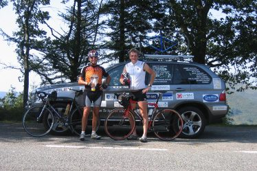 Matthew and Fred on a previous cycle ride to Africa