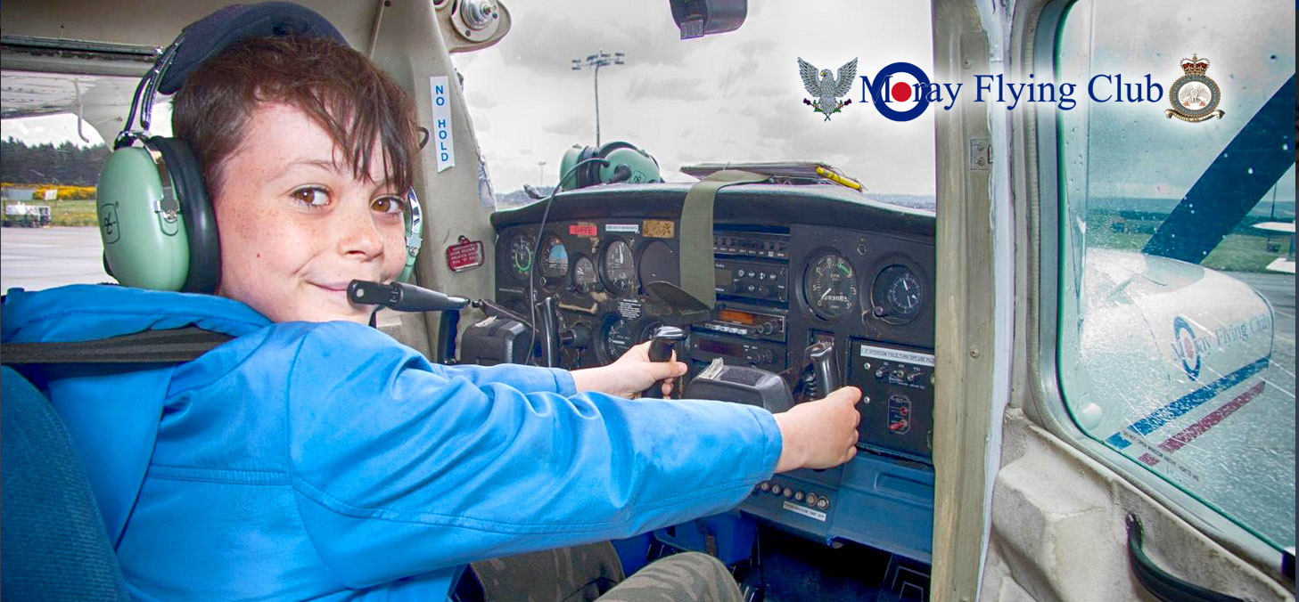 Bader brave in plane at Moray Flying Club